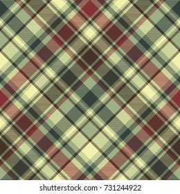 Green plaid diagonal seamless fabric texture. Vector illustration.