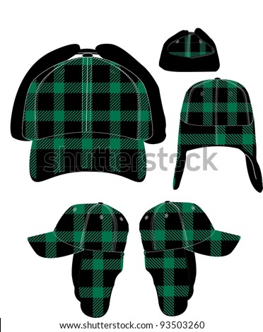 Green Plaid Winter Hat Stock Vector (Royalty Free) 93503260 ... 91441fd60bd