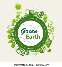 Green planet Earth concept. Sustainable green living around the globe. There are wind turbines, solar power generators, electric car, rain water tank and recycle bins.