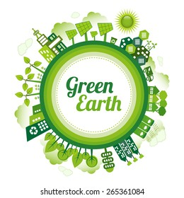 Green planet Earth concept. Sustainable green living around the globe. There are wind turbines, solar power generators, electric car, rain water tanks and recycle bin.