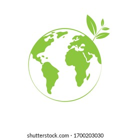 Green planet earth and tree branch. Isolated vector illustration.