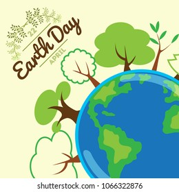 green planet, globe with trees growing on it, concept of vector illustration about ecology, global warming and eco system, postcard Earth day isolated on white