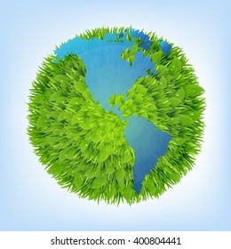 Green Planet With Gradient Mesh, Vector Illustration