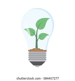 green plant in bulb, Isolated on white background. vector illustration