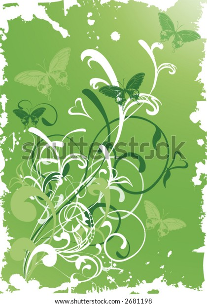 green plant and butterflies  on grunge background - vector