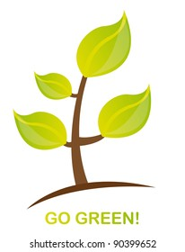 green plant with go green text over white background. vector