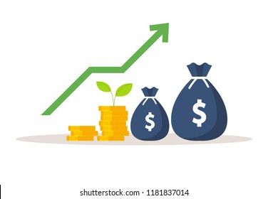Green plant and gold money coins. Money growth. Vector illustration