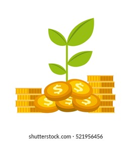 green plant and gold money coins over white background. growth funds economy concept. colorful design. vector illustration