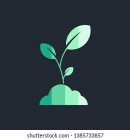 Green plant icon vector template isolated on black background. Vector illustration