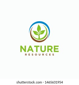 Green plant nature resources logo design template - vector