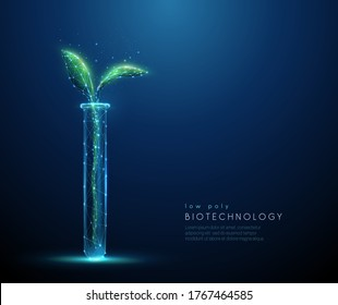Green plant sprout in tube. Biotechnology concept. Low poly style design. Abstract blue geometric background Wireframe light connection structure Modern 3d graphic concept Isolated vector illustration