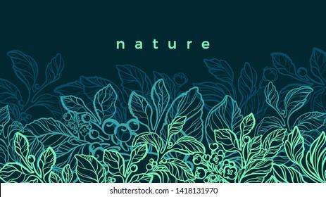 Green plantation. Vector nature background. Night jungle, tropics Flowering art sketch, bio design. Natural herbal food, drink. Floral card. Vegan plant