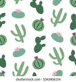 green plants cactus peyote seamless pattern on a white background vector.