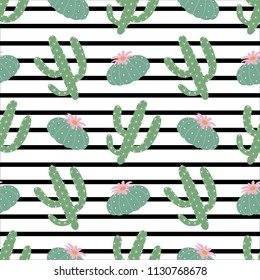 green plants cactus peyote seamless pattern on a black and white horizontal strips background summer fashion print vector.