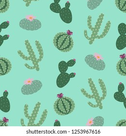 green plants cactus peyote seamless pattern on a turquoise background summer fashion print vector.