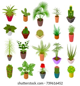 Green Plants in Pot Set Icons 3d Isometric View Element Decoration Interior for Home, Shop or Office. Vector illustration of Potted Plant