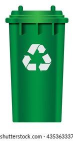 green plastic recycle bin vector illustrations