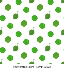 Green Plum design for textile fabrics. Cute and sour plums.