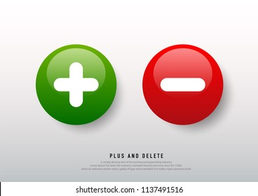 Green plus and red minus round icons on white background. Vector illustration