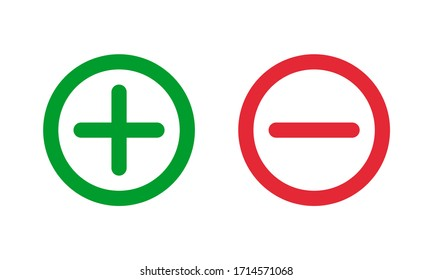 green plus and red minus symbols, round thin line vector signs
