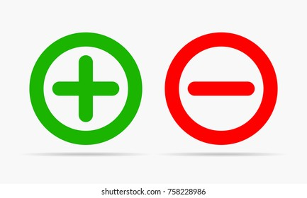 Green plus and red minus. Vector illustration. Plus and minus round icons on white background.