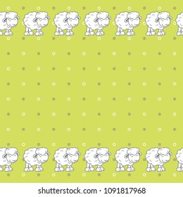 Green polka dots background with cute baby sheeps. Vector