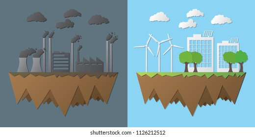 Green and polluted city. For diagram, web design, brochure, template, layout, banner vector illustration. Energy difference.