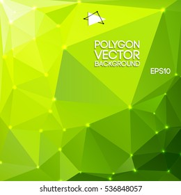 Green polygon triangle background with bright acid green color and light dots vector illustration