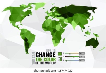 Green polygonal world map on light background