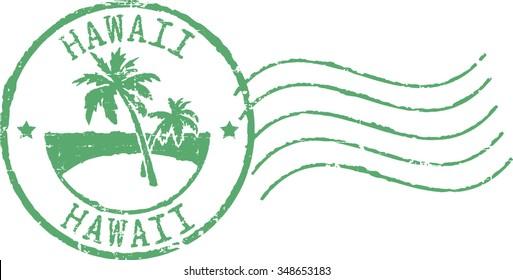 Green postal grunge stamp ''Hawaii'.