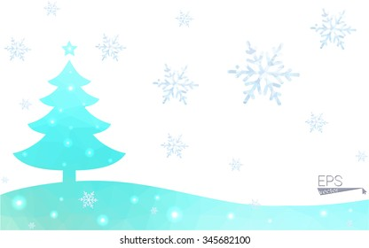 Green postcard low polygon style christmas tree vector illustration consisting of triangles.Abstract triangular polygonal origami or crystal design of New Year celebration.Isolated on white background