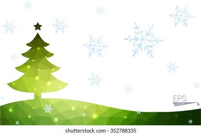 Green postcard low polygon style christmas tree vector illustration consisting of triangles. Abstract triangular polygonal origami or crystal design of New Year celebration. Isolated on white background