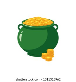 Green pot full of golden coins with clover sign - traditional symbol of St Patrick Day in flat style.