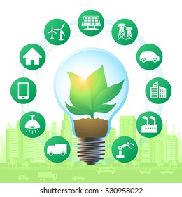 green power and smart city concept, vector illustration
