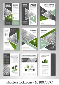 Green presentation template set for business annual report, corporate marketing,  corporate report, creative flyer and leaflet, advertising, brochure,  banner, slideshow, booklet, background.
