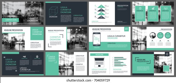 Green presentation templates and infographics elements background. Use for business annual report, flyer, corporate marketing, leaflet, advertising, brochure, modern style. - Shutterstock ID 704059729