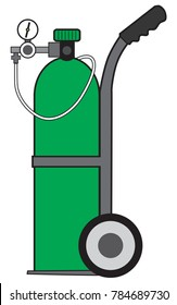 Green pressurized portable oxygen tank on a cart ready for use