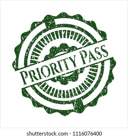 Green Priority Pass distressed rubber grunge texture seal
