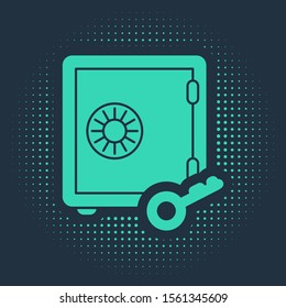 Green Proof of stake icon isolated on blue background. Cryptocurrency economy and finance collection. Abstract circle random dots. Vector Illustration