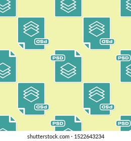 Green PSD file document. Download psd button icon isolated seamless pattern on yellow background. PSD file symbol.  Vector Illustration