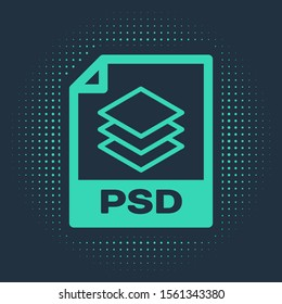 Green PSD file document. Download psd button icon isolated on blue background. PSD file symbol. Abstract circle random dots. Vector Illustration