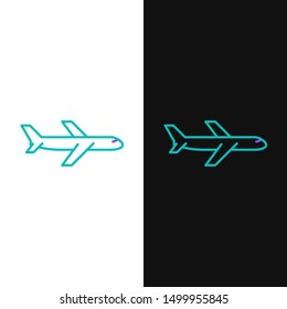 Green and purple line Plane icon isolated on white and black background. Flying airplane icon. Airliner sign.  Vector Illustration