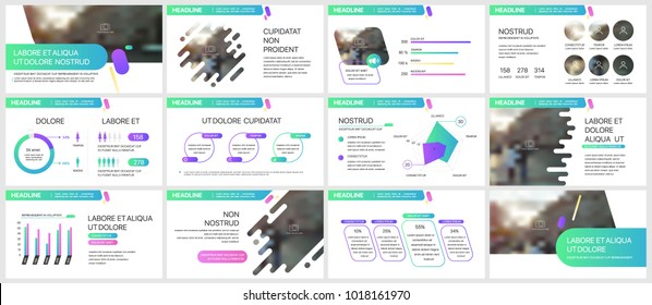 Green and purple presentation templates elements on a white background. Vector infographics. Use in Presentation, flyer and leaflet, corporate report, marketing, advertising, annual report, banner.