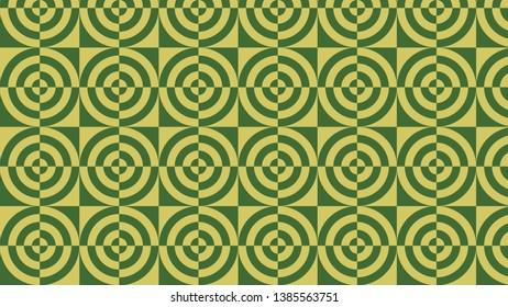 Green Quarter Circles Pattern Design