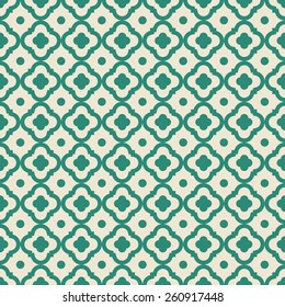 green quatrefoil vector pattern. can by tiled seamlessly.
