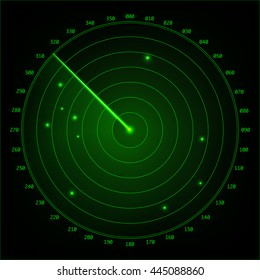 Green radar screen design element. Vector illustration.