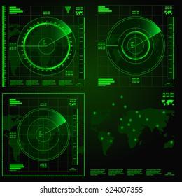 Green radar screen on black background, HUD interface
