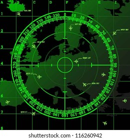 Green radar screen over square grid lines and map of Europe territory, vector