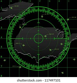 Green radar screen over square grid lines, and map of USA territory, vector