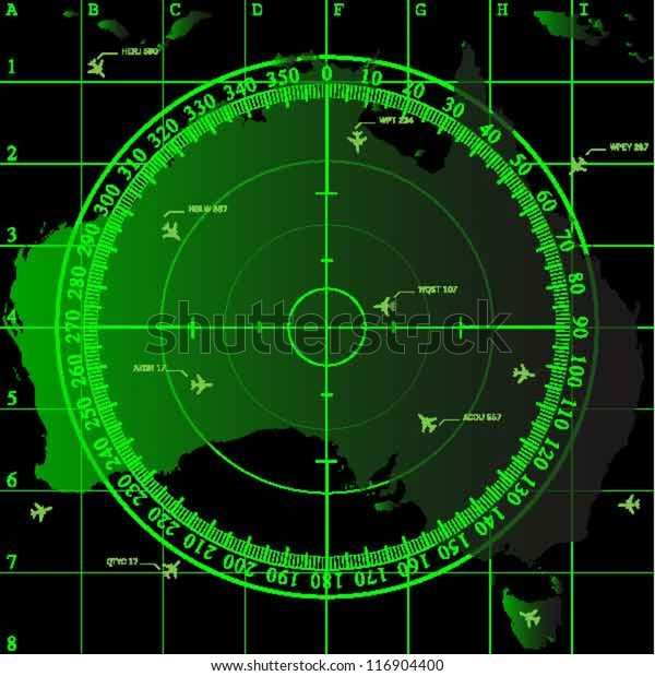 Map Of Australia Radar.Green Radar Screen Over Square Grid Stock Vector Royalty Free